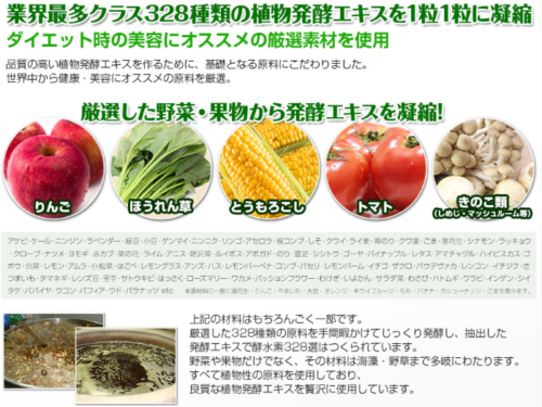 酵水素328選の原材料